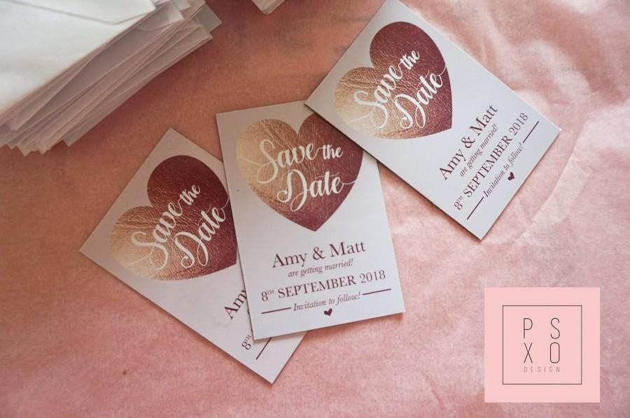 Mariage - Save The Date Magnets // Copper Faux Foil Blush Heart Design // Copper Foil Design // Blush & Copper // Save The Date Magnet // Wedding