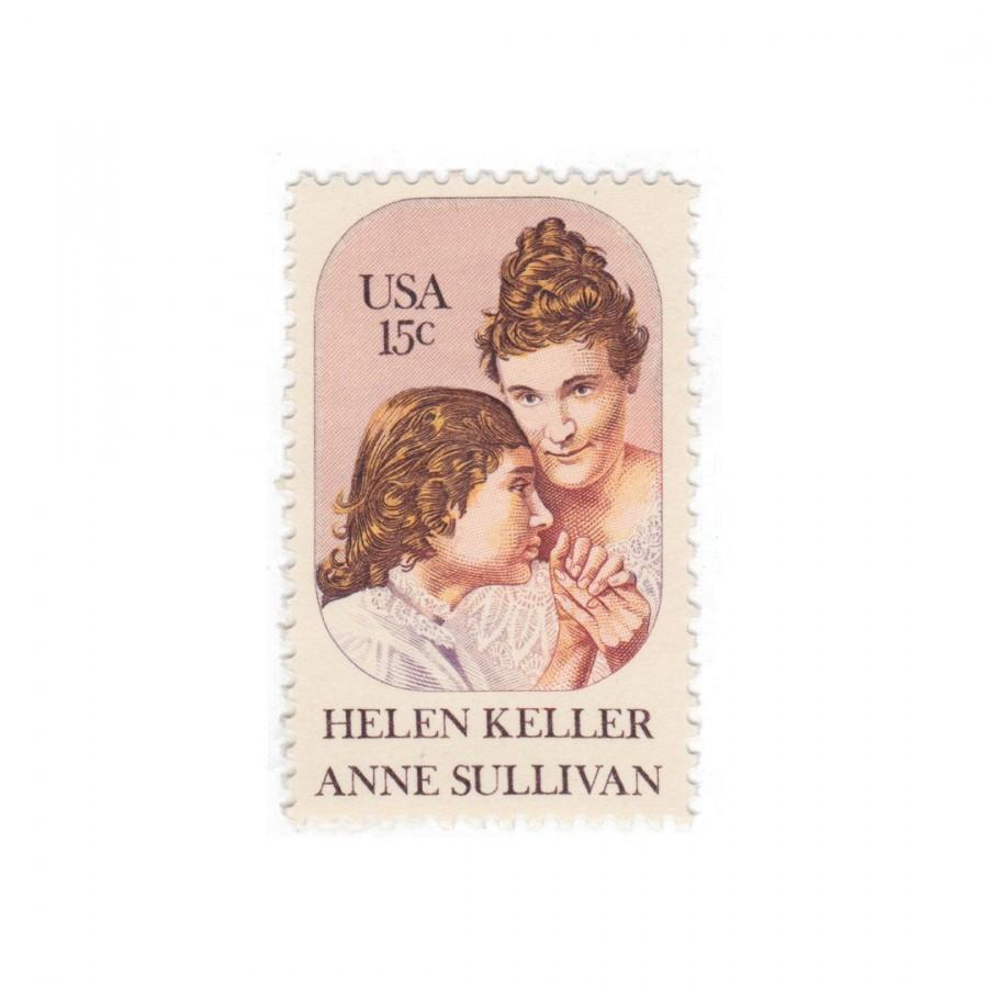 Wedding - 1980 15c Helen Keller / Anne Sullivan - 10 Unused Vintage Postage Stamps - Item No. 1824