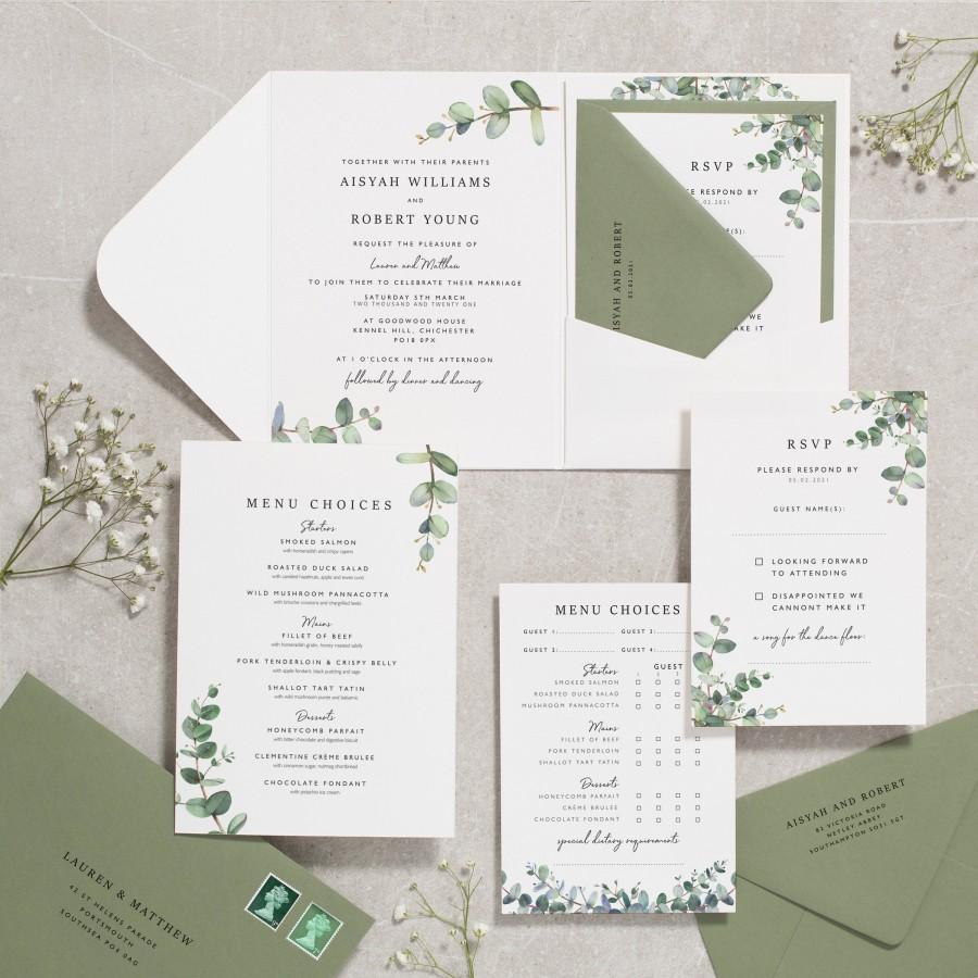 Mariage - Botanical Wedding Invitations, Eucalyptus Wedding Invite, Sage Wedding Invitation, Greenery Wedding Stationery 'Aisyah' #117