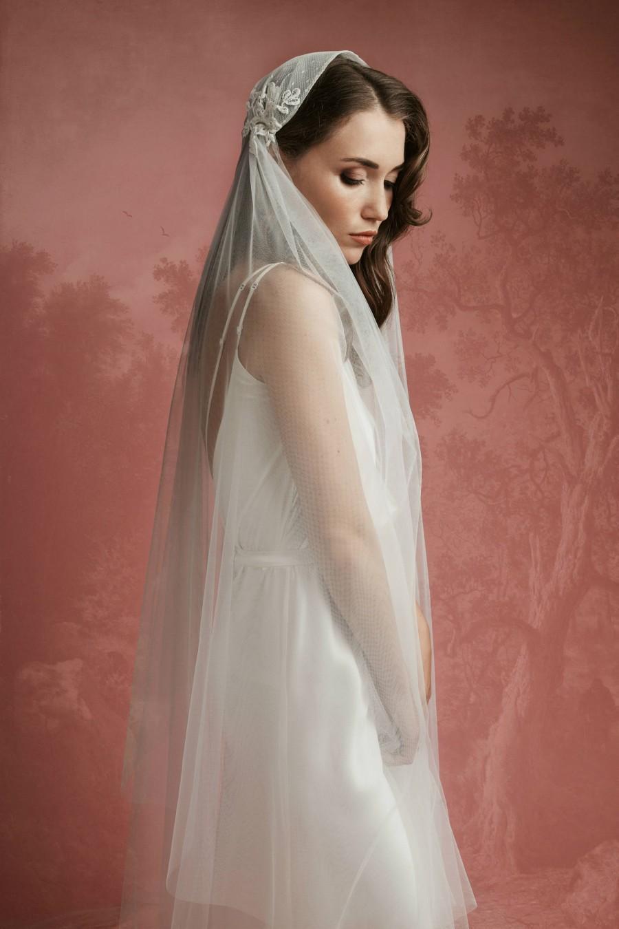 Mariage - Lace Juliet Bridal Cap Veil with Blusher A11, Juliet Cap Veil, 1920s Veil, Cathedral Veil, Vintage Veil, Lace Wedding Veil, Lace Cap Veil