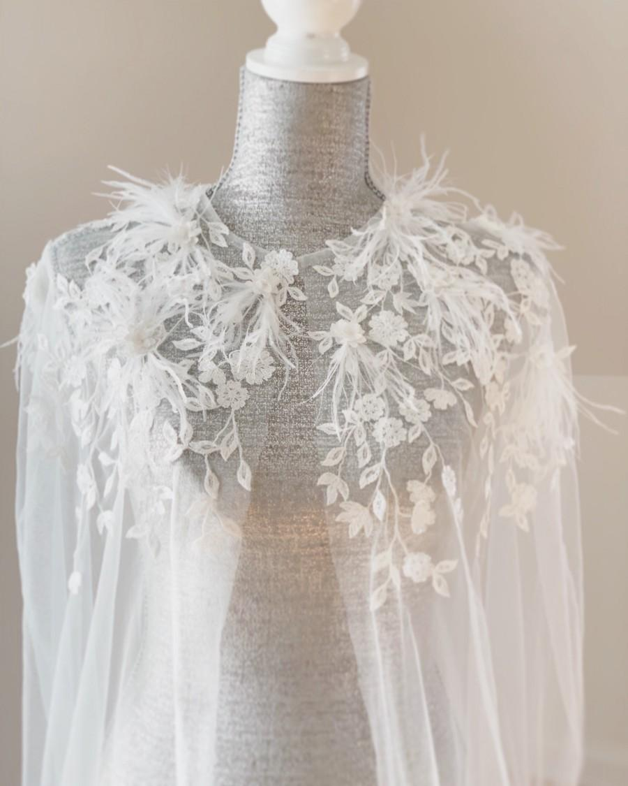 Mariage - Veil Cape with Feather