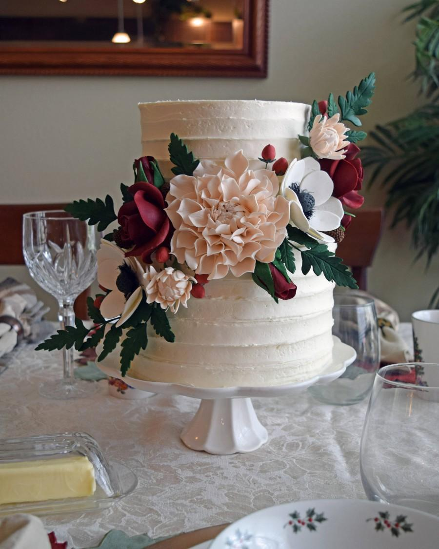 Wedding - Blush and Burgundy Sugar Flower Arrangement Cake Topper including Dahlias, Anemones, Roses, and Fern Leaves