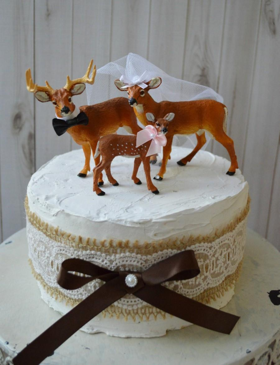 Mariage - Buck doe and fawn wedding cake topper-family wedding cake topper-custom deer-deer hunting-wedding cake topper-fall wedding-rustic-western