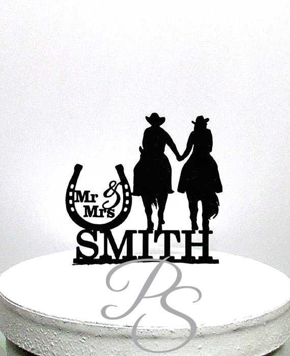 Mariage - Personalized Wedding Cake Topper - Cowboy and Cowgirl wedding, horseback riding cake topper with Mr & Mrs last name