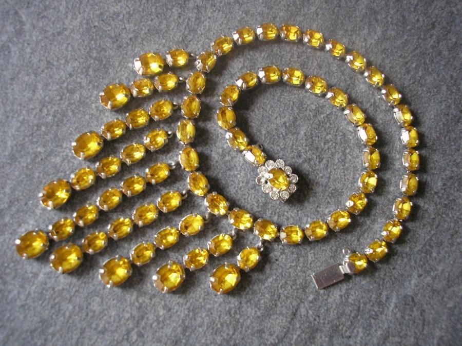 Свадьба - Vintage Citrine Rhinestone Necklace