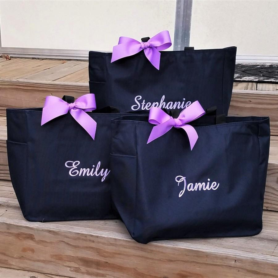 Свадьба - Set of 4 Personalized Tote Bags, Bridesmaid Tote Bags, Bridesmaid Gifts, Monogrammed