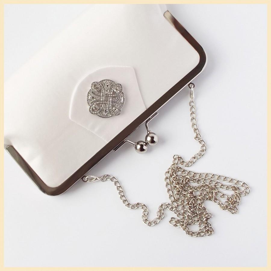 Hochzeit - wedding clutch bag, ivory bridal purse, bridal clutch with celtic knot, Spring wedding purse