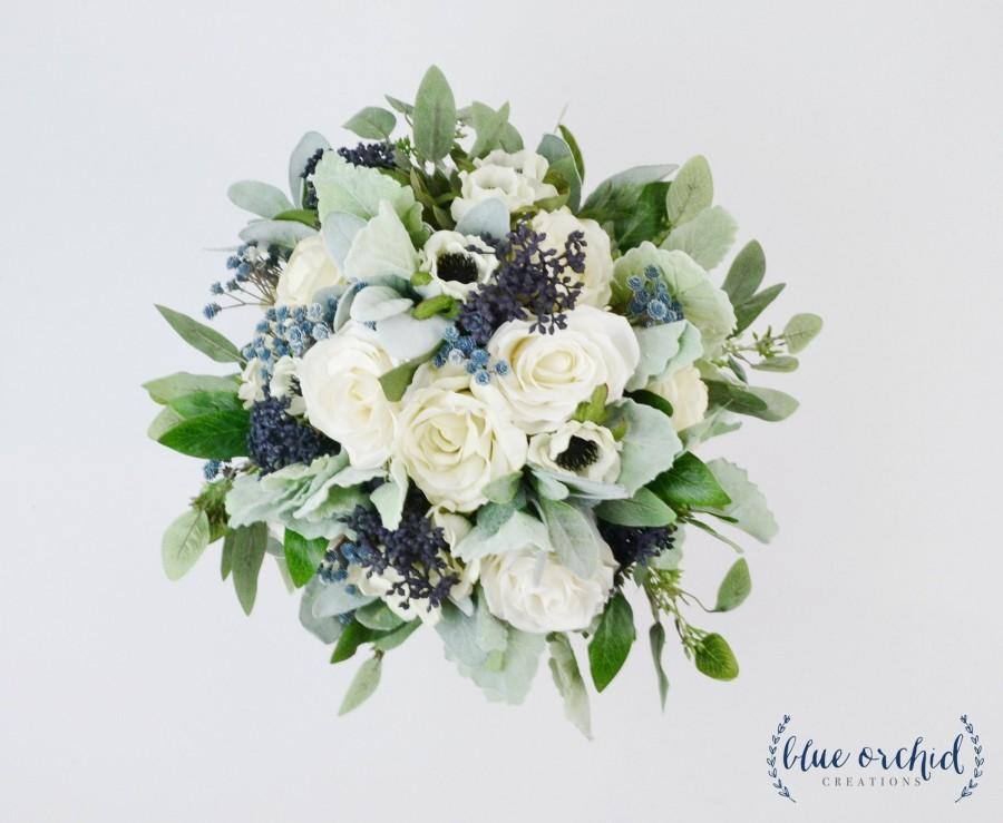 زفاف - wedding flowers, wedding bouquet, bridal bouquet, silk bouquet, eucalyptus bouquet, artificial bouquet, boho bouquet, ivory, white, blue