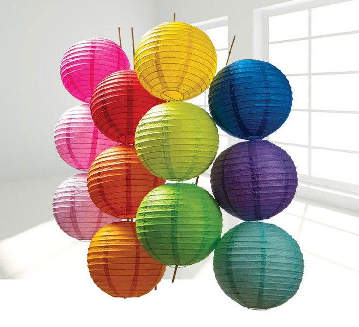 زفاف - party Wedding Decoration 5pcs Chinese Paper Lantern Piece Paper Lantern SET Round Paper Lanterns Wedding Party Floral Sky Decoration