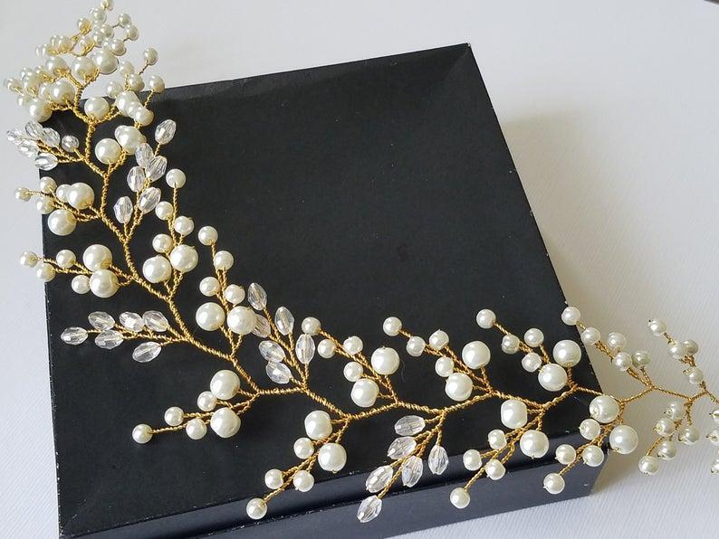 Mariage - Pearl Crystal Bridal Hair Vine, Wedding Pearl Hairpiece, Pearl Gold Headpiece, Pearl Hair Jewelry, Bridal Hair Accessories Pearl Gold Wreath