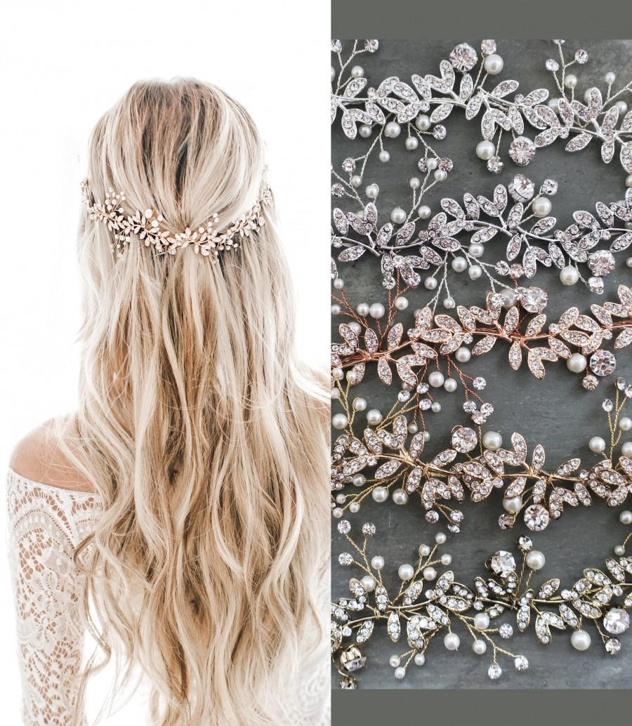 Mariage - LOWEST PRICE EVER! Boho Wedding Hair Accessory  Bridal Hair Vine  with Leaves Pearls Crystals  - 'Lyra'