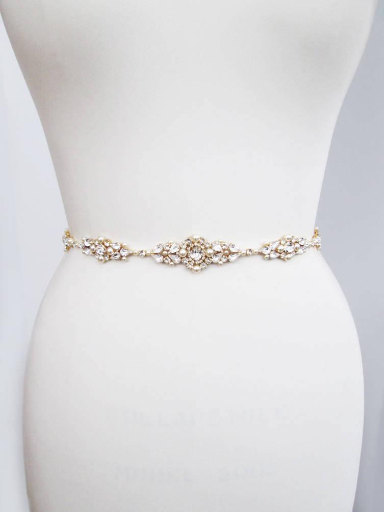 Mariage - Bridal belt, Swarovski bridal belt sash, Wedding belt in Gold, Silver, Rose gold, Rhinestone bridal belt, Skinny belt sash crystal and pearl