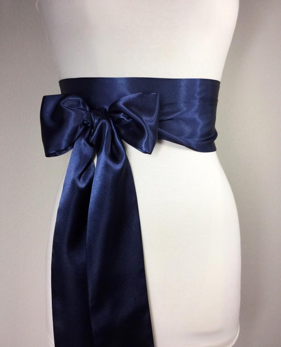Свадьба - Navy Blue Sash, Navy Satin Sash, Extra Long Navy Sash, Waistband Wrap, Obi Wrap Belt, Bow Belt, Bridesmaid Wedding Bridal Sash, Satin Swank