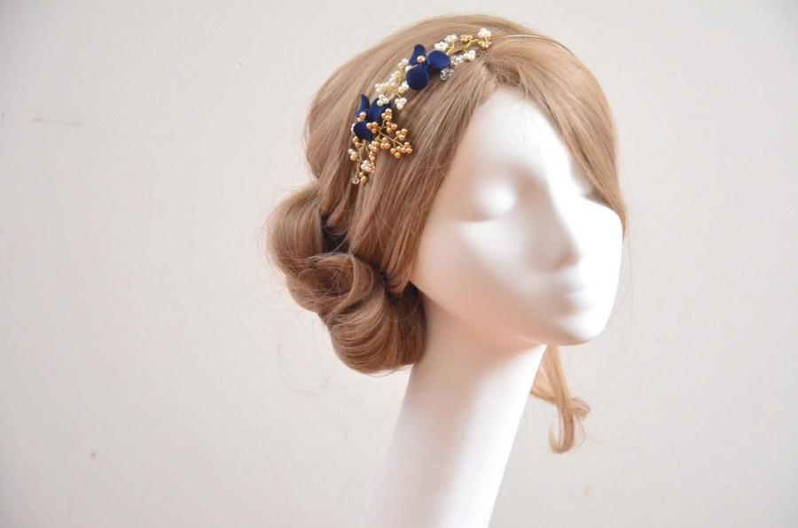 Mariage - Navy blue and gold headband, Irish dance headband Floral headband,  Bridesmaids headpiece, Navy blue headpiece,  Pearl headpiece