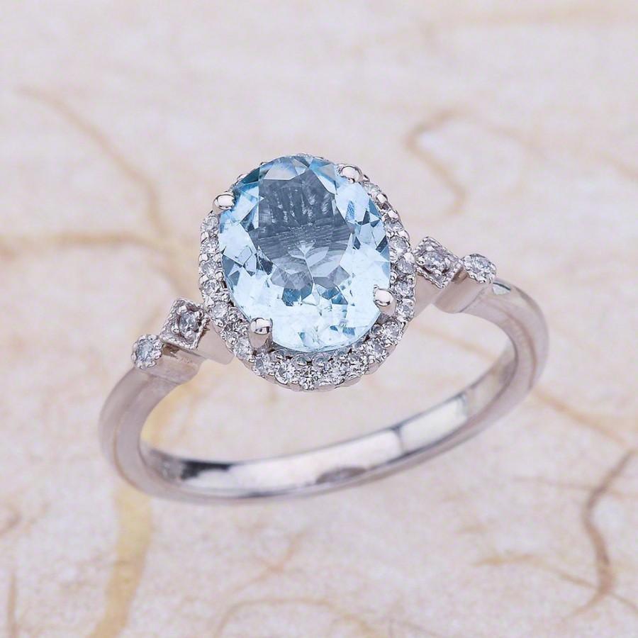 Mariage - Aquamarine Halo Engagement Ring White Gold, Oval Cut Aquamarine Engagement Ring White Gold, Oval Engagement Ring White Gold, Aquamarine Ring