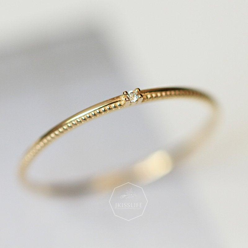 Mariage - 14K Solid Gold CZ Diamond Thin Ring, Gold Stackable Simple Ring, Wedding Engagement Diamond Minimalist Ring, Solid Yellow Gold Dainty Ring