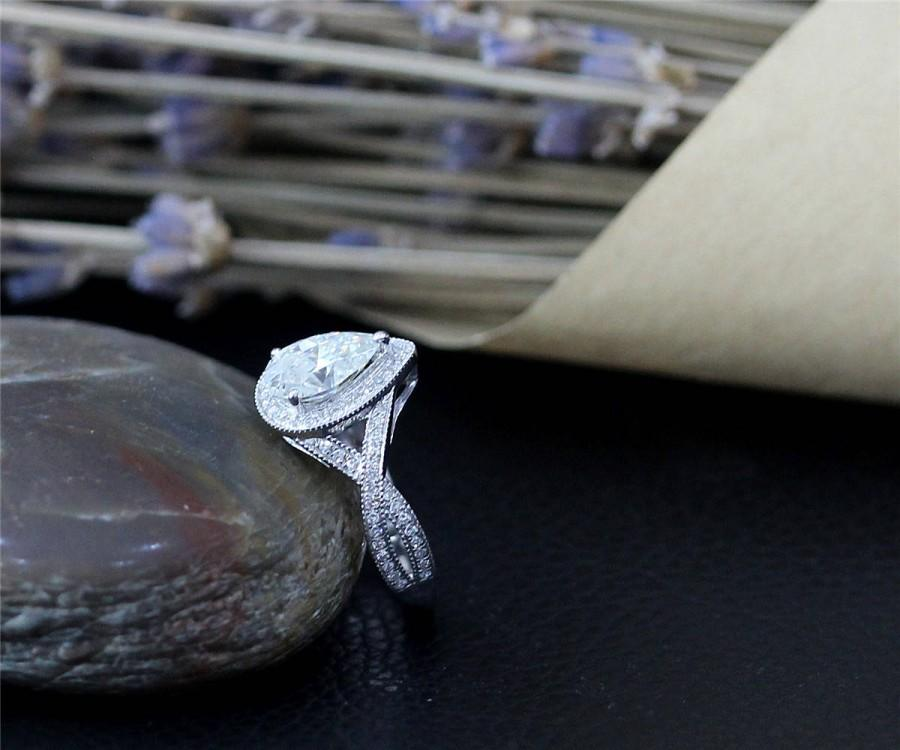 Mariage - Perfect Moissanite Ring White Gold Engegement Ring 1.5ct Pear Cut Charles & Colvard Moissanite Ring, 14k Solid White Gold Ring Wedding Ring