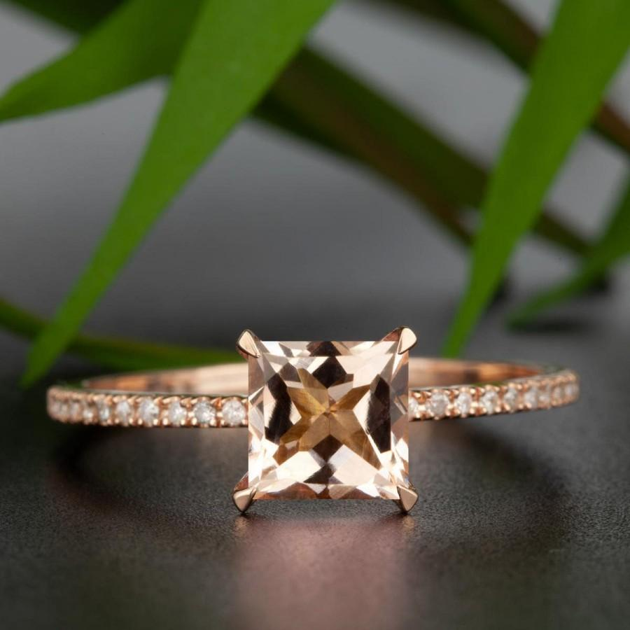 Mariage - Natural Flawless 1.25 Carat Princess Cut Morganite, Real Diamond Engagement Ring, Real 10K Solid Rose Gold Ring, Anniversary Gift For Her