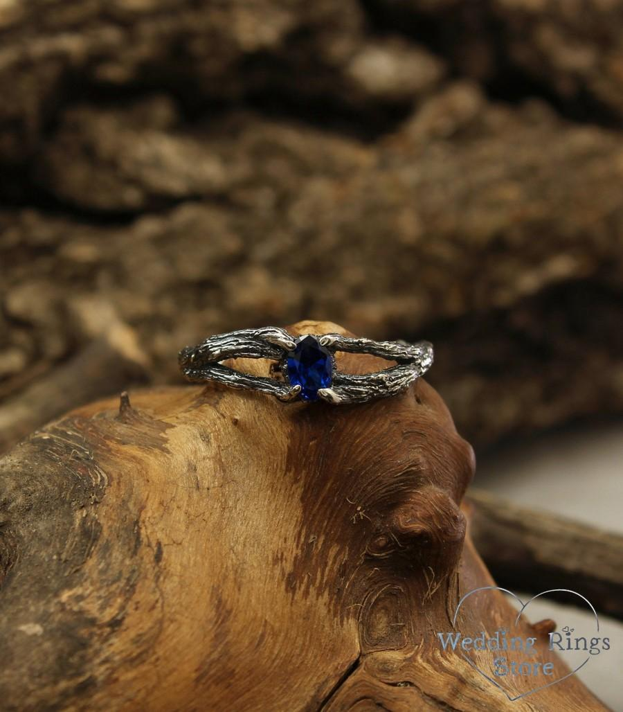 Mariage - Double branch sapphire engagement ring, Tree small ring with oval sapphire, Dainty silver ring, Twig ring, Birthstone ring, Gift for her