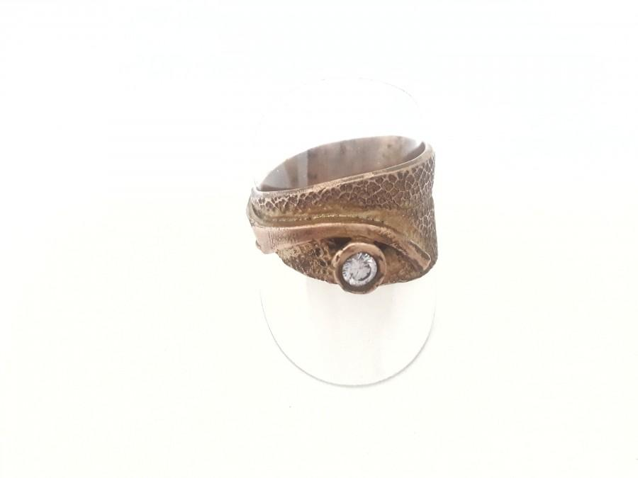 Mariage - Bronze ring, sage leaf, boho, hippie, elven, festival, antique, medieval, unique,retro zirconium, romantic