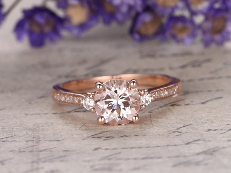 Mariage - Morganite engagement ring with diamond,Solid 14k rose gold,promise ring,bridal,6.5mm round custom made fine jewelry,pave set
