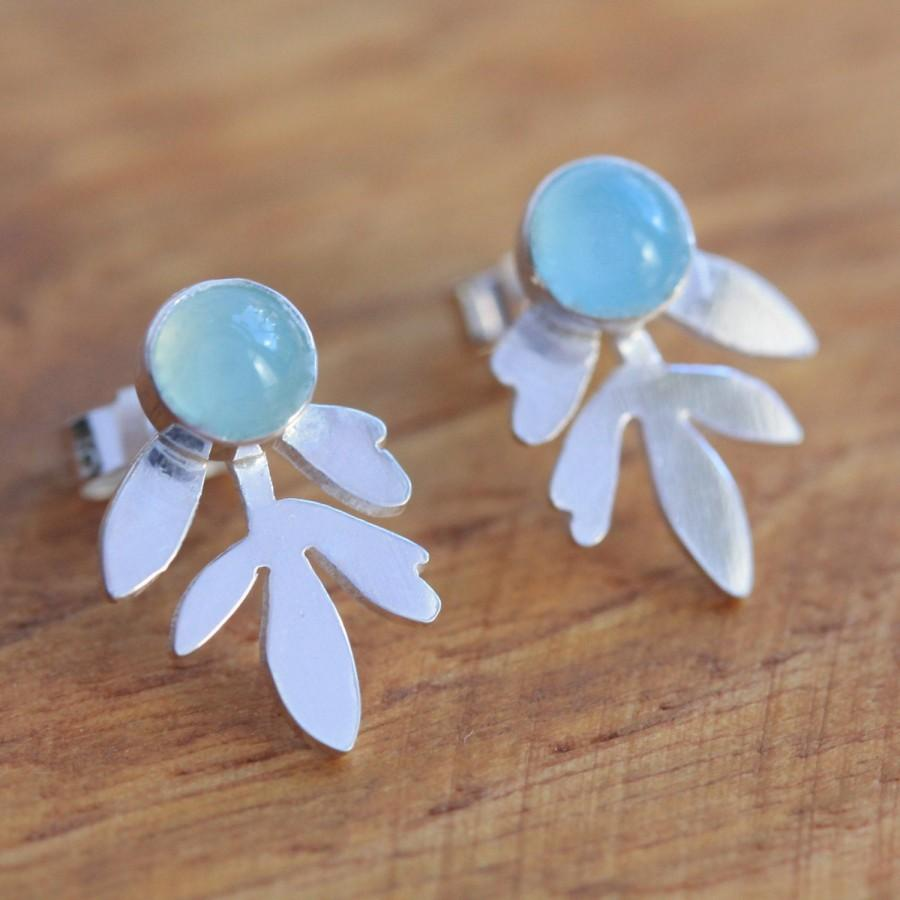 Mariage - Silver Stud Earrings Inspired by Lavender Leaves - Small Silver Earrings - Small Stud Earrings