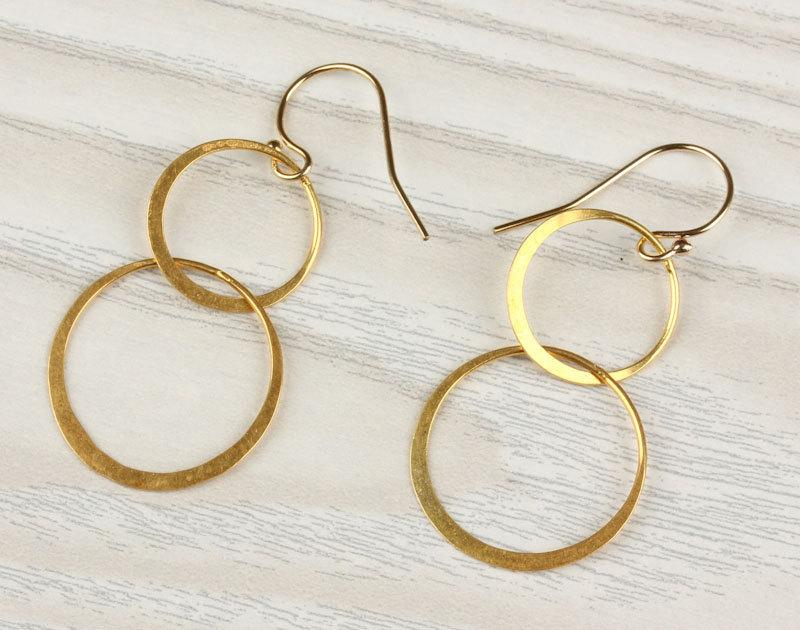 """Свадьба - Double circle earrings, gold circle earrings, dangled earrings,14k gold filled, minimalist, everyday simple, """"Two Circles"""" Earrings"""