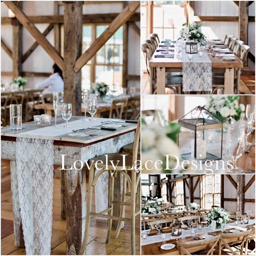 "Mariage - Ivory Wedding Table Runner/12""wide/ 3ft-10ft long /Wedding centerpiece/Barn Yard wedding/Rustic Weddings"
