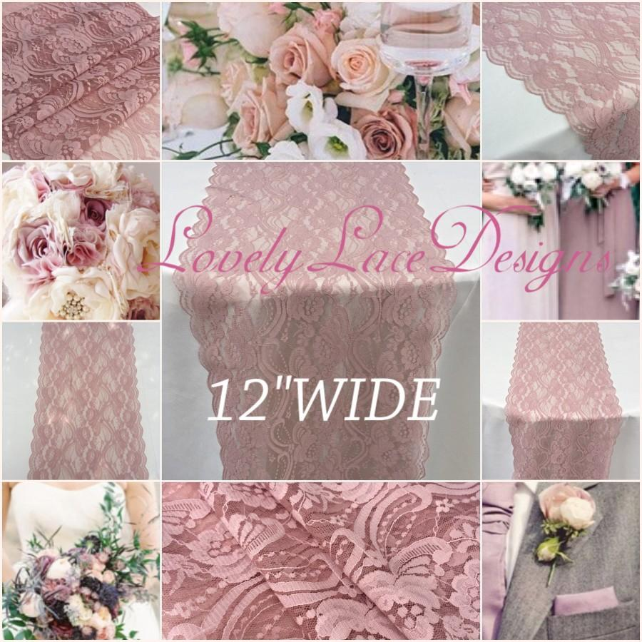 "Mariage - Wedding Lace Table Runner/Dusty rose/ 12""wide/Lace /wedding decor/wedding centerpiece/Rustic weddings/Boho weddings/bridal showers"