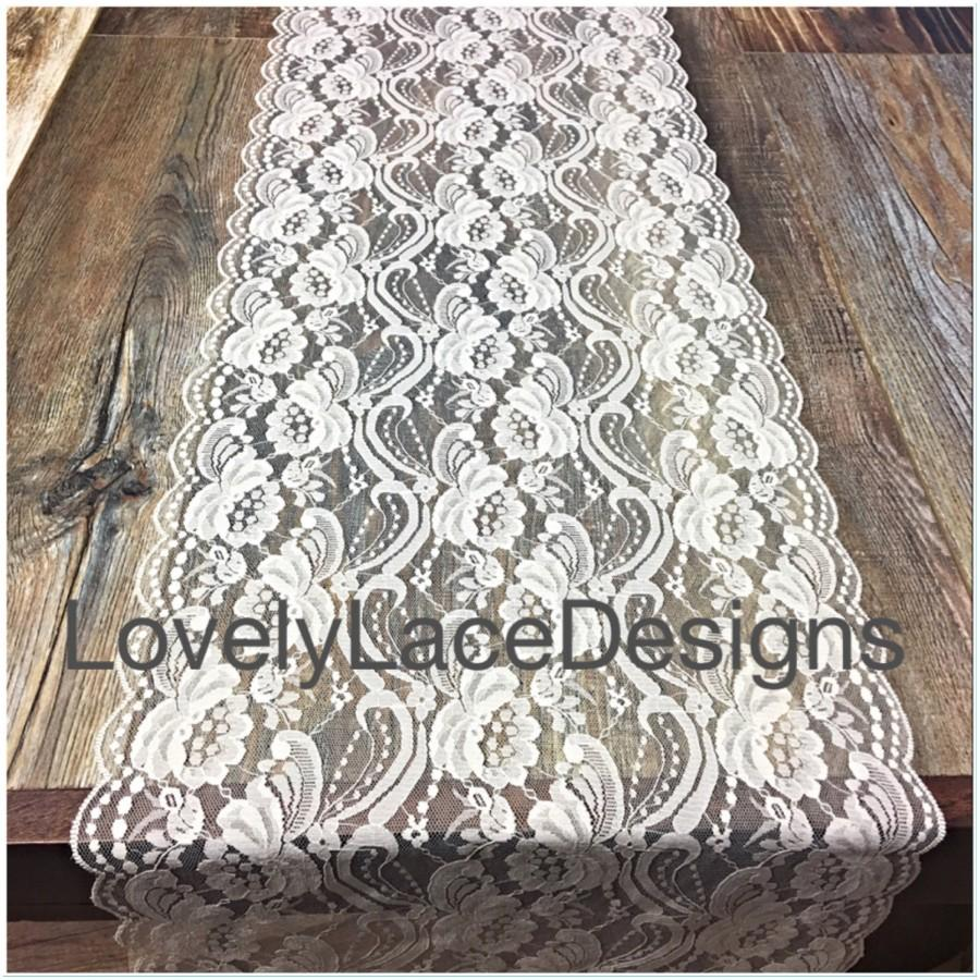 "Wedding - Wedding Lace Table Runner/Ivory/12""wide x12ft-20ft long/Wedding Decor /Rustic Weddings/Barn Yard Weddings/Boho weddings/centerpiece"