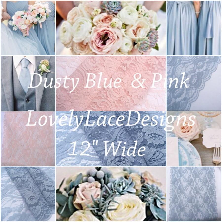 "Mariage - Wedding Lace Table Runner/Dusty BLue/Blush Pink/ 12"" wide/Wedding Decor/Weddings/Beach weddings/Rustic Weddings/Bridal/Baby showers"