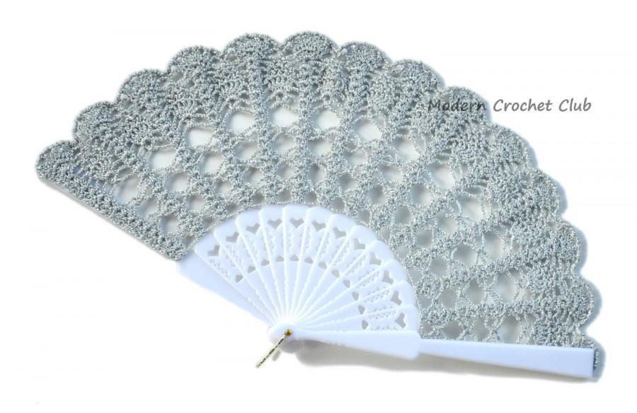 Mariage - Silver Lace Fan for a Mother's Day Gift- Hand Held Fan- Handmade Lace Hand Fan- Halloween Costume- Folding Hand Fan- Victorian Wedding Fan