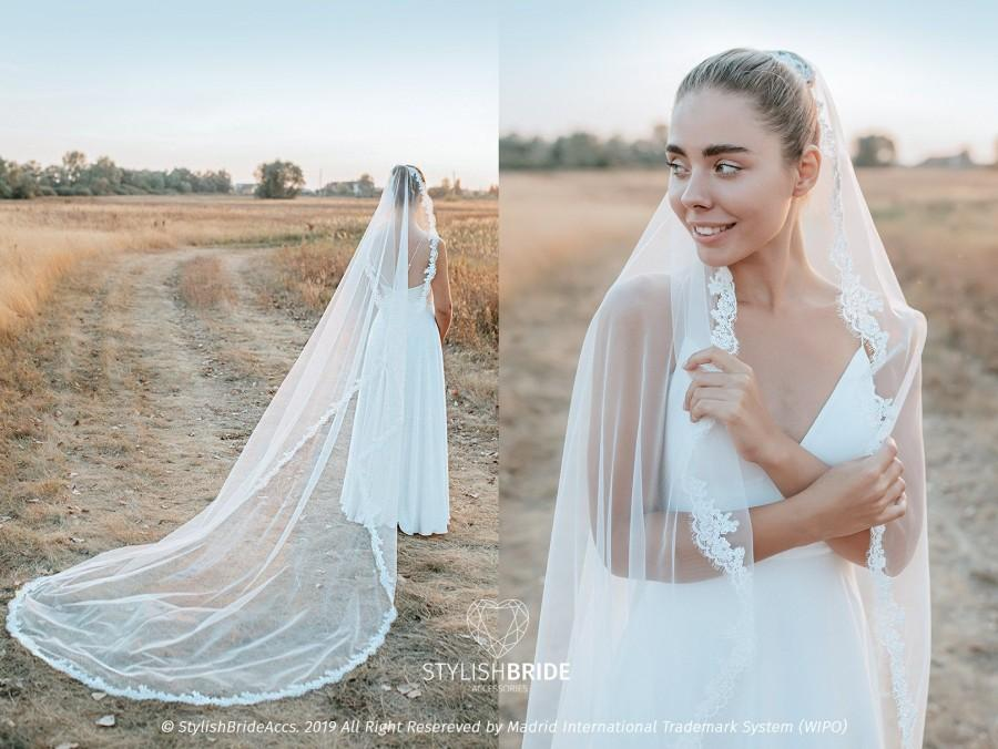 Mariage - Rosaleen Cathedral Bridal Veil with Thin Lace Trim, Extra Long Lace Veil with Blusher, Boho Veil 2020 New SBA collection