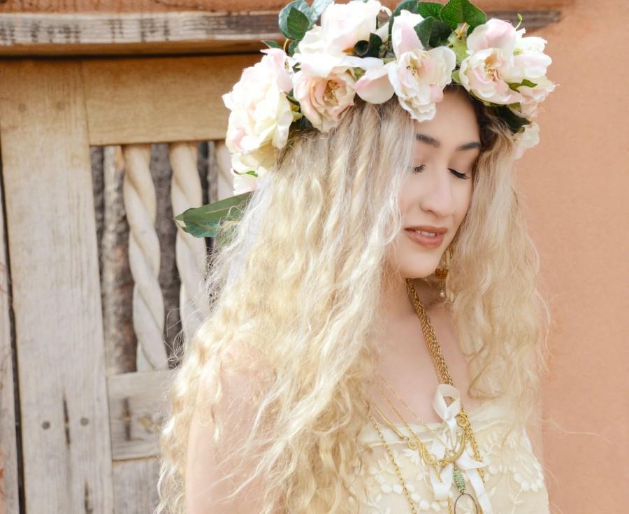 Mariage - floral wedding veil, flower wreath, bridal veil, chapel length cathedral, bridal crown, flower crown, floral tiara veil, floral veil
