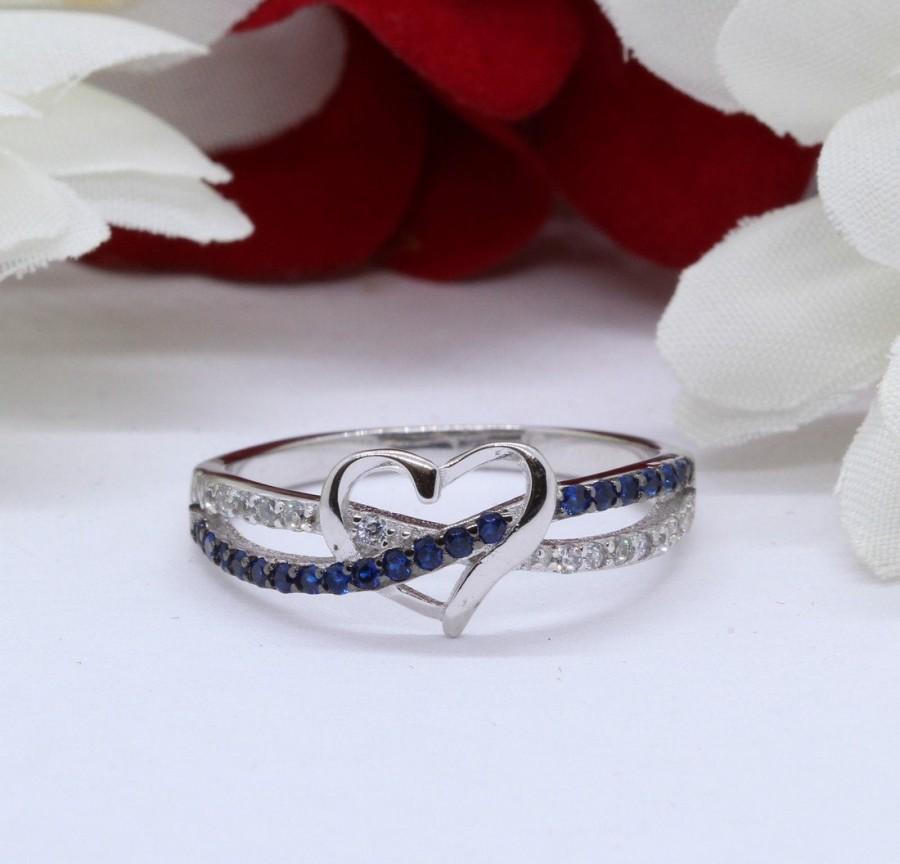 Свадьба - Infinity Heart Ring Crisscross Crossover Heart Promise Ring Round Simulated Blue Sapphire Diamond CZ Solid 925 Sterling Silver