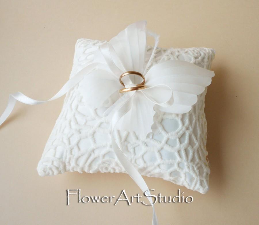 زفاف - Wedding Ring Pillow Ivory Butterfly Ring Pillow Wedding Ring Bearer Pillow Satin Ring Pillow with Butterfly