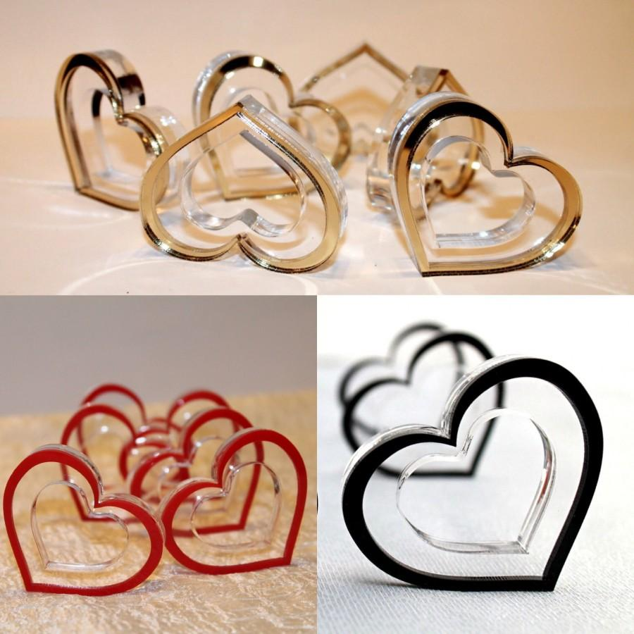 Mariage - Wedding Napkin Rings Red Gold Hearts Napkin Ring Holders Bridal Shower Table Decor Centerpiece Birthday Party Favors Valentines Day Decor