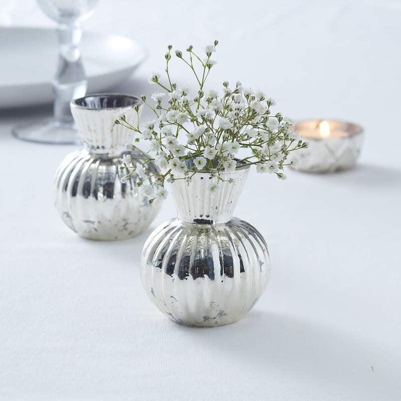 Свадьба - SILVER Ribbed Flower Vase, Rustic Wedding Decorations, Wedding Flower Holders, Wedding Table Centerpiece, Venue Decorations, Wedding Vase