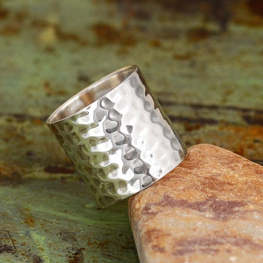 Mariage - Cuff Ring -  Sterling silver Ring for Women, Wide Band Hammered Statement Ring,  Boho Simple Jewelry, Tube Long Ring