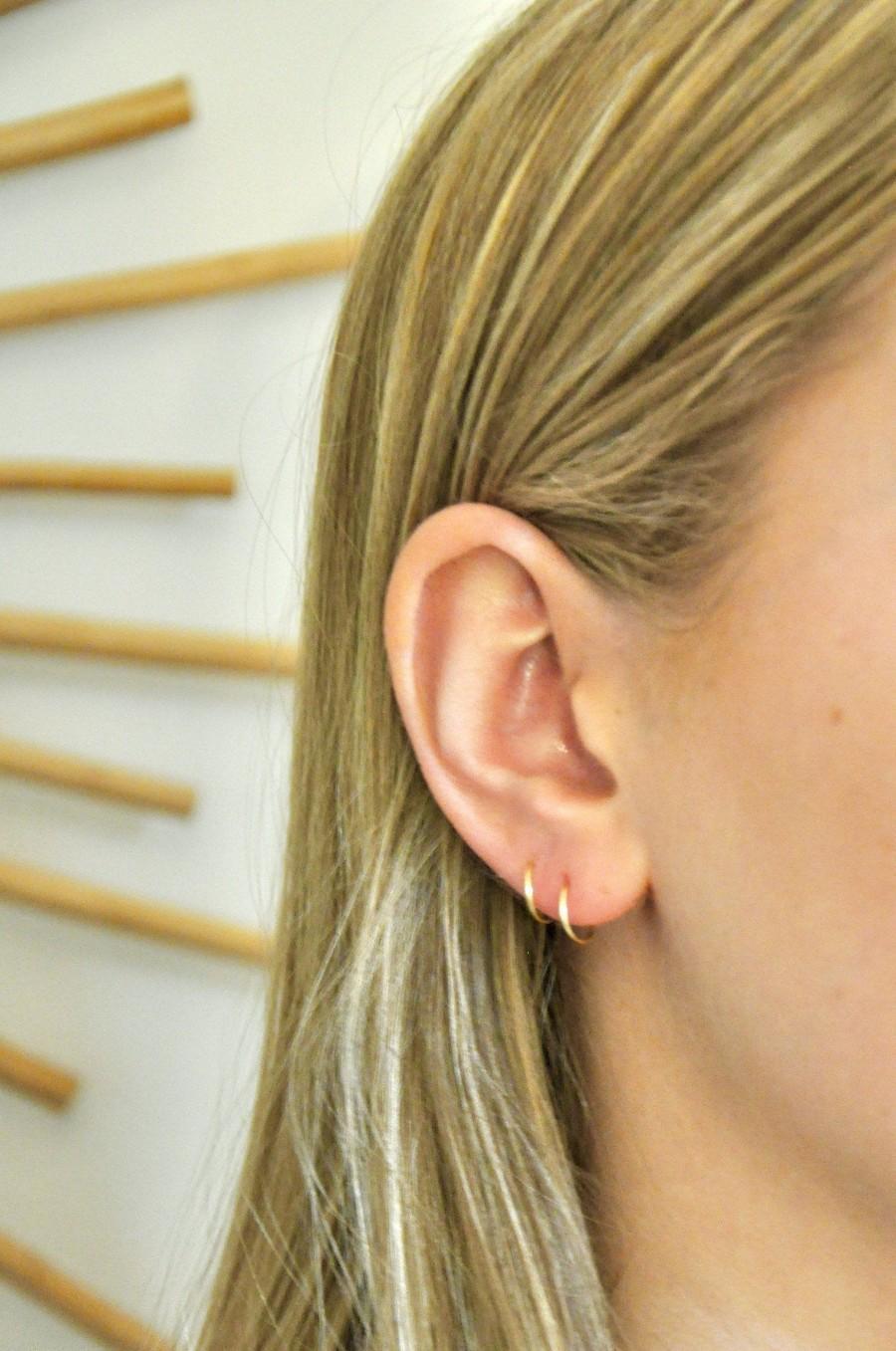 زفاف - Tiny Hoop Earrings Pair/ Small Hoop Earrings/ Thin Hoop Earrings/ Silver Hoops/ Tiny Gold Hoops/ Ear Huggers/ Cartilage Earrings/ Rose Gold