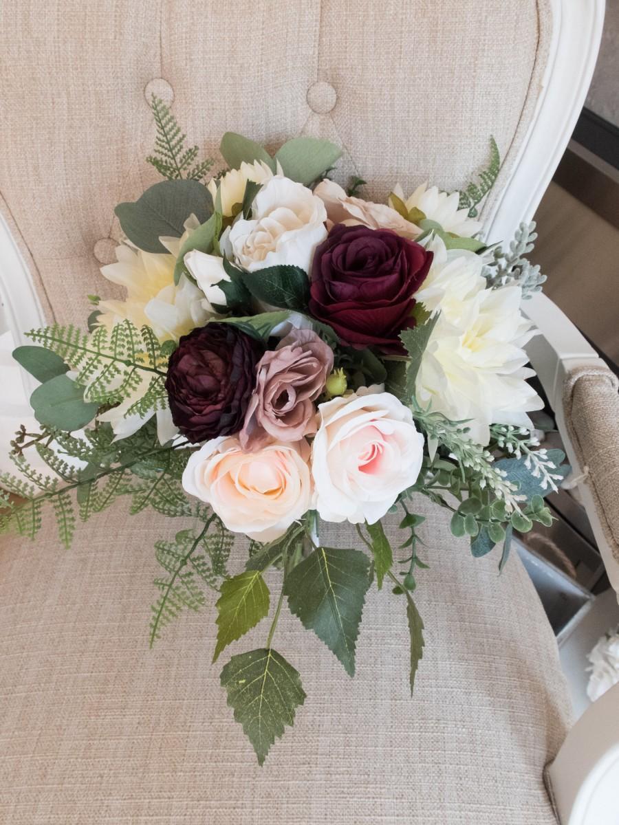 Hochzeit - Rustic blush and burgundy silk wedding bouquet.