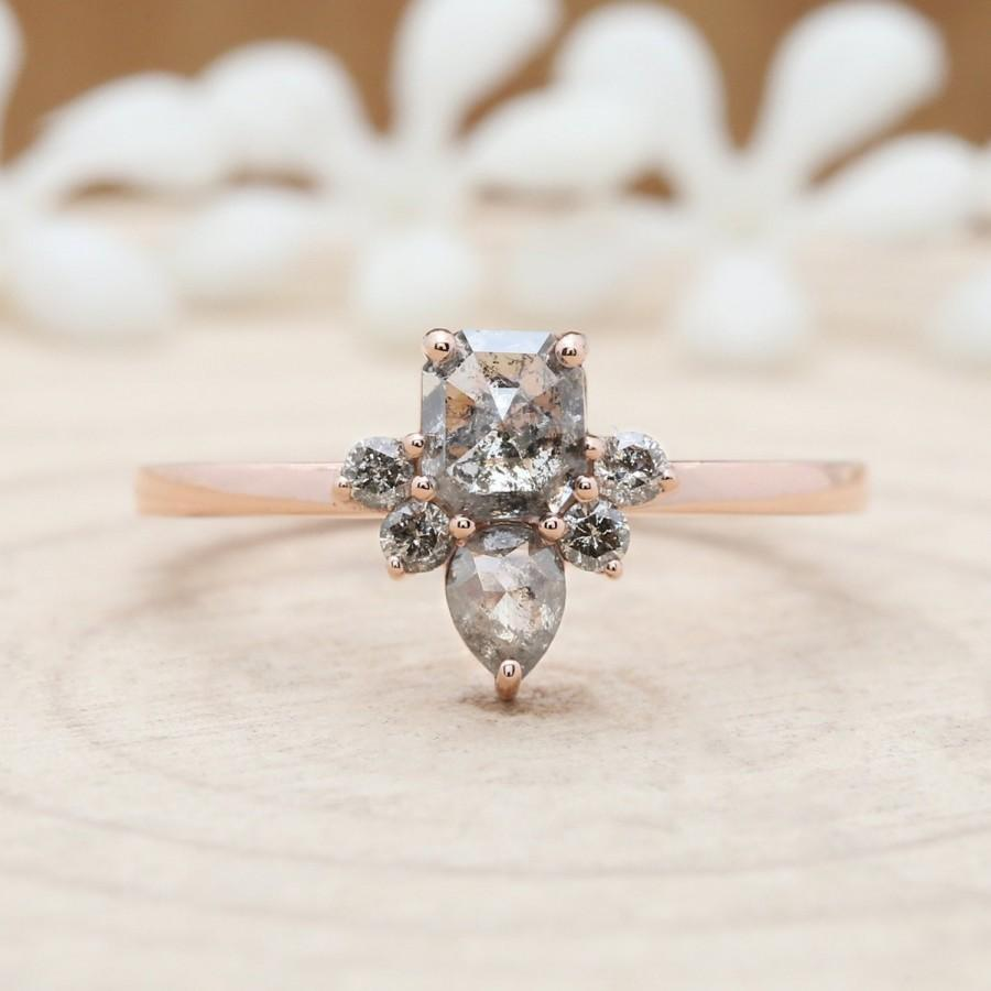 Hochzeit - Salt And Pepper Emerald Diamond 14K Solid Rose Gold Ring Engagement Wedding Gift Ring KD533