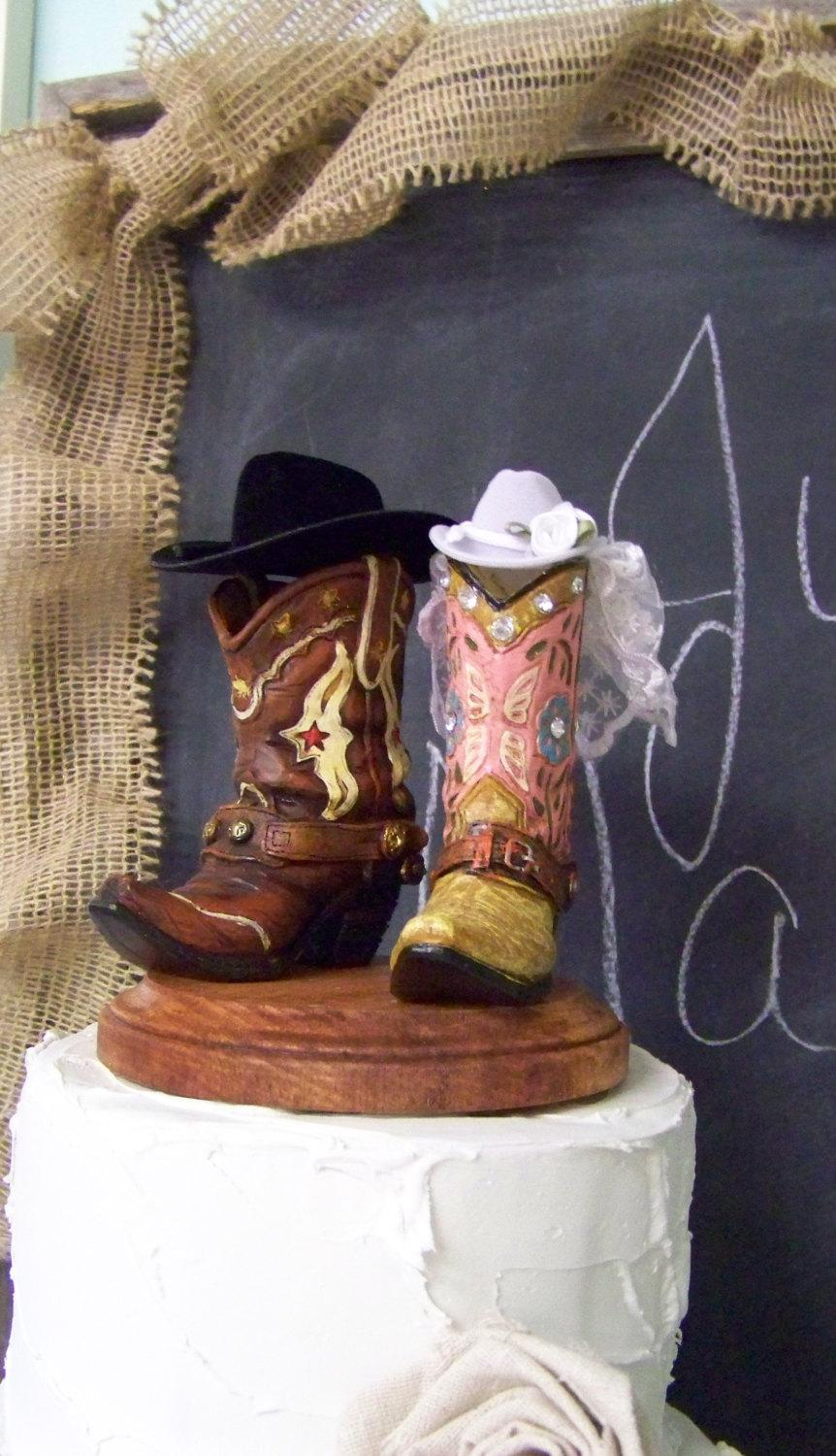 Mariage - Rustic Cake Topper-His and Her Western Cowboy Boots-Wedding Cake Topper-Barn Wedding