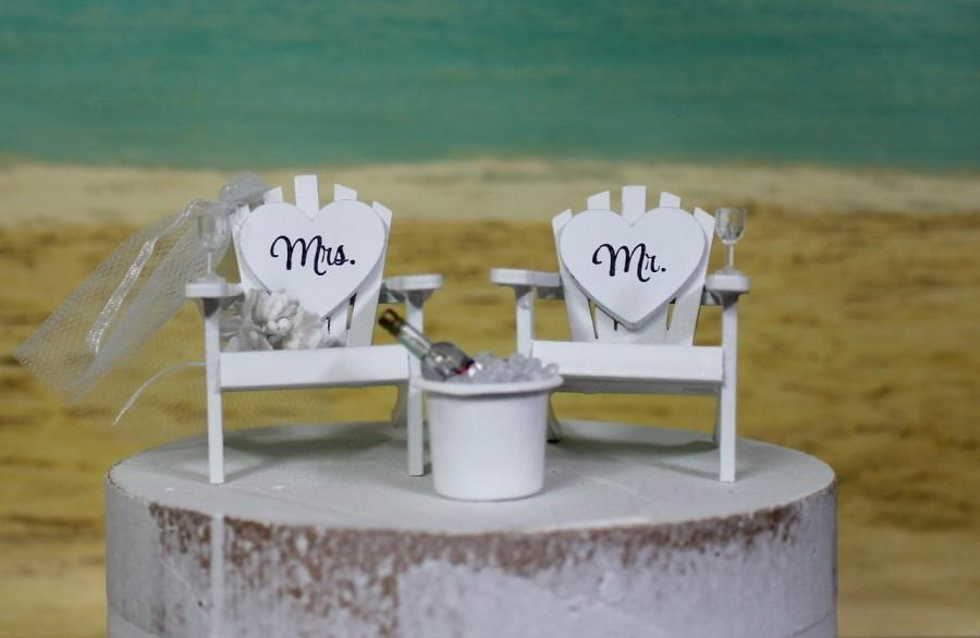 """Mariage - Beach Wedding Cake Topper, 6"""" Cake Topper, Beach-Bride-Groom-Anchors-Tub-Drinks-Destination-Ocean- His and Hers Cake Topper"""