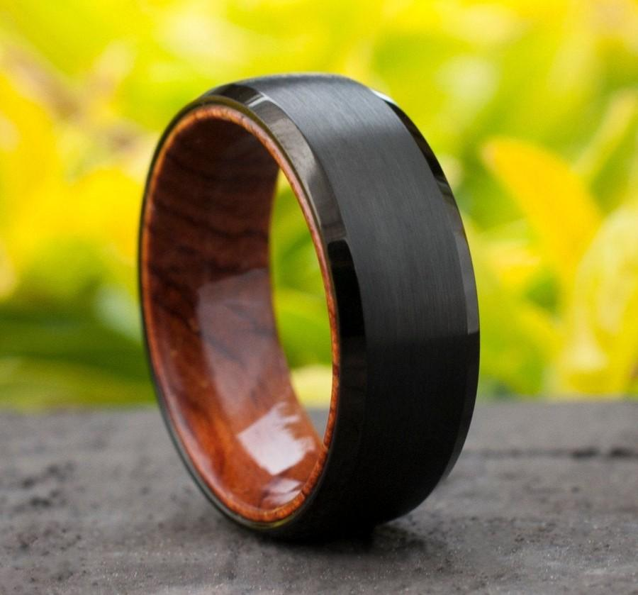 Mariage - Wood Sleeve Tungsten Ring Black Wedding Band Brushed Rosewood Design Men 8MM Comfort Fit Sizes 5 to 15 Husband Anniversary Love Holiday Gift