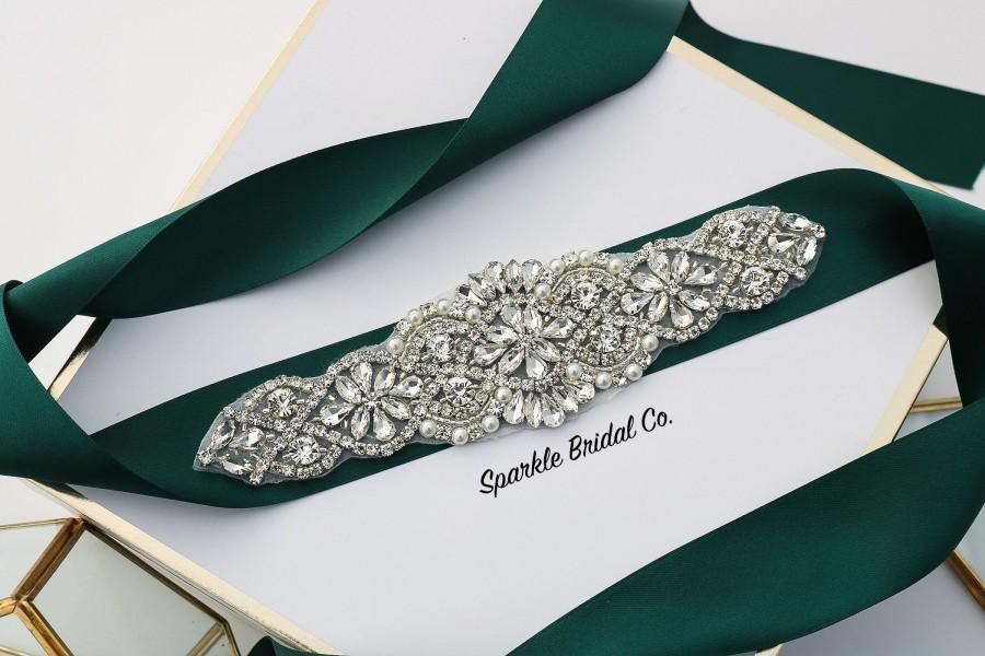 Свадьба - Bridal Sash Belt, Hunter Green Wedding Dress Belt, Rhinestone Dress Belt, Bridal Belt, Crystal Sash Belt, Dress belt, bridesmaids belt