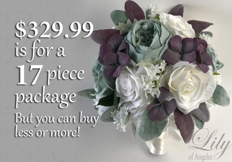 Свадьба - Wedding Bouquet, Bridal Bouquet, Bridesmaid Bouquet, Silk Flower Bouquet, Wedding Flower, Slate Blue, Dusty Blue, Plum, Blue Lily of Angeles