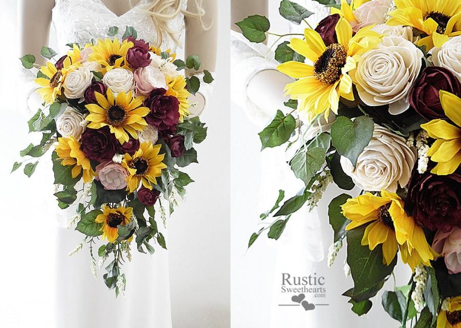Свадьба - Sunflower & Burgundy Wine Sola Flower Bridal Cluster Cascade Bouquet ~ Sola Flower Bouquet, Sola Wood Bouquet