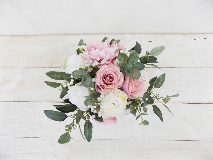 Свадьба - Rustic boho bridal bouquet bridesmaid bouquet white blush dusky pink eucalyptus artificial silk flowers Spring Summer wedding set package