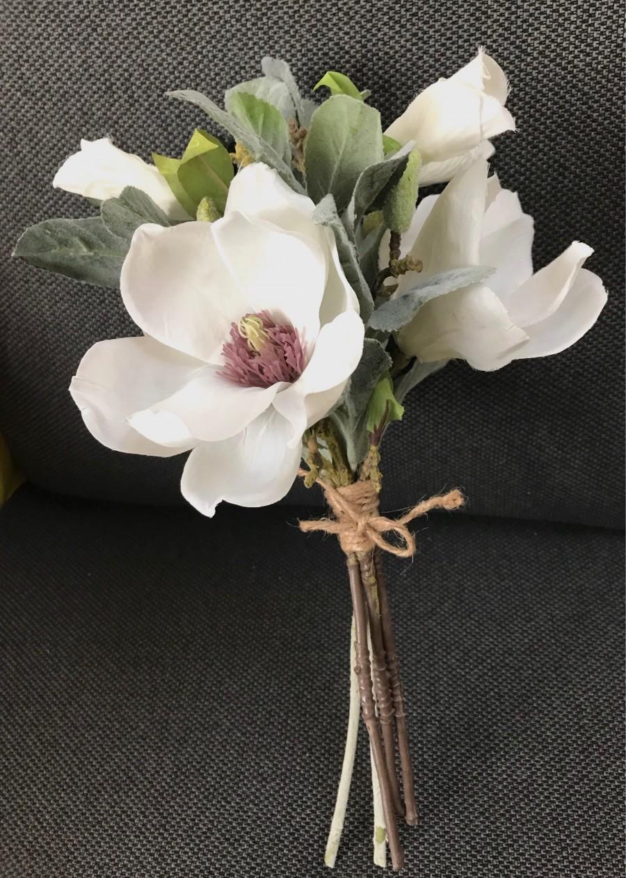 Mariage - Bridesmaid bouquet, wedding, magnolia bouquet, wedding bridesmaids, wedding accessory, silk flowers white magnolia bouquet